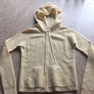 Bloomingdales summer cashmere Aqua zip up w/hood